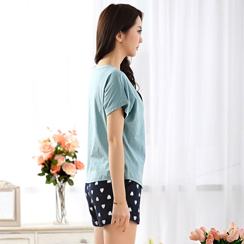 New pajamas female summer cartoon knitted cotton short sleeved ...
