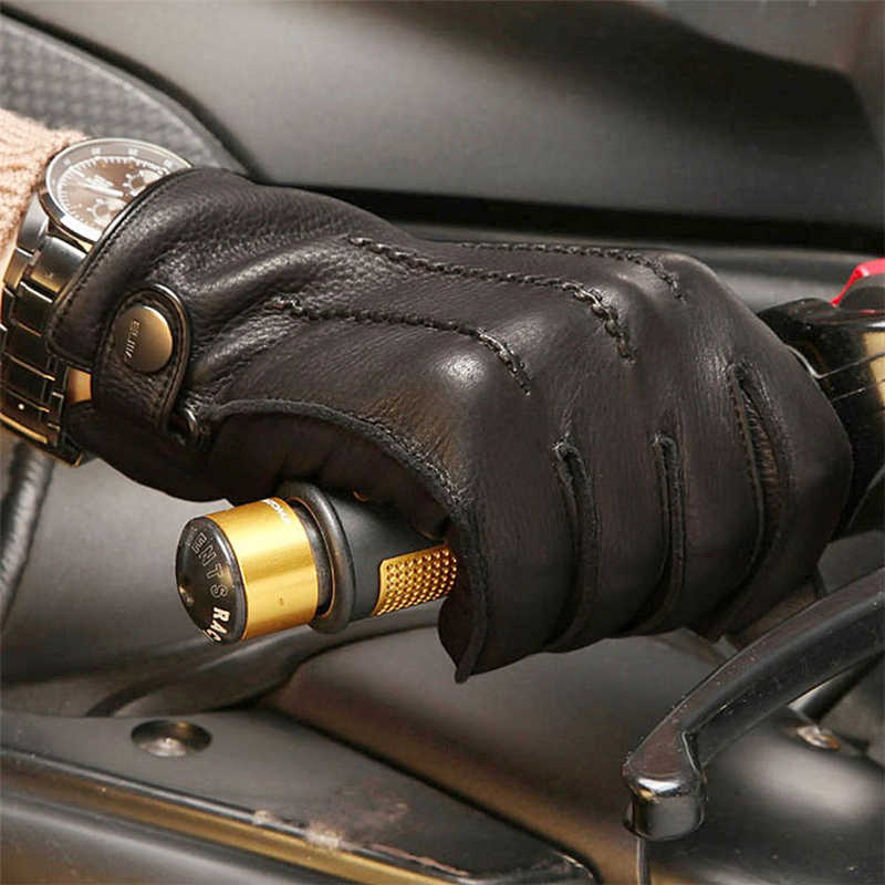 2018 新高品質急い男性本革手袋の高級ディアスキングローブ手首駆動冬カシミヤ裏地 EM012WR-5