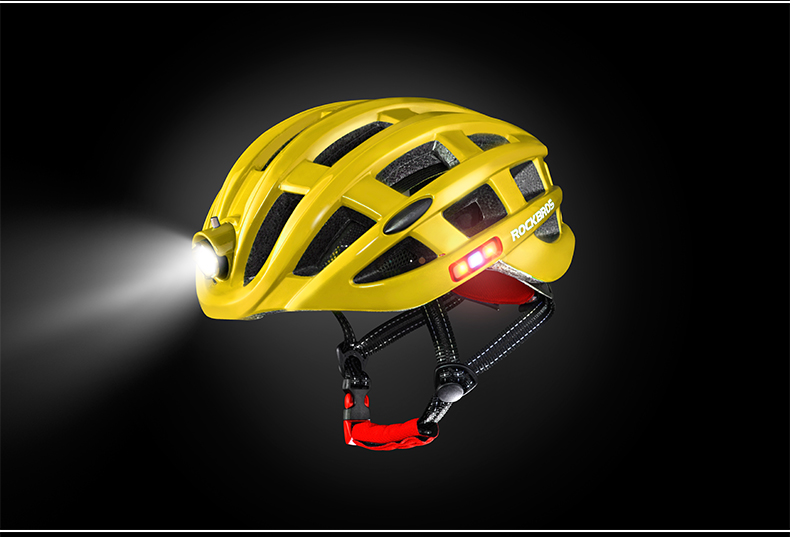 ROCKBROS Cycling Helmet with integrated front and side safety lights 24