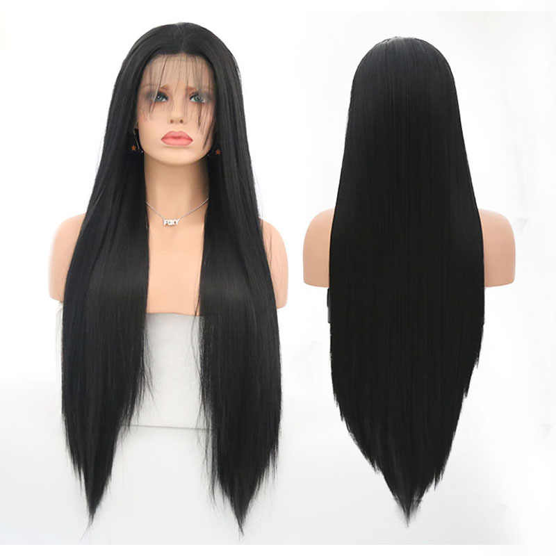 Peluca con malla frontal sintética carisma para mujeres negras, Color 1B, pelo liso largo con línea de pelo Natural, peluca con malla frontal s