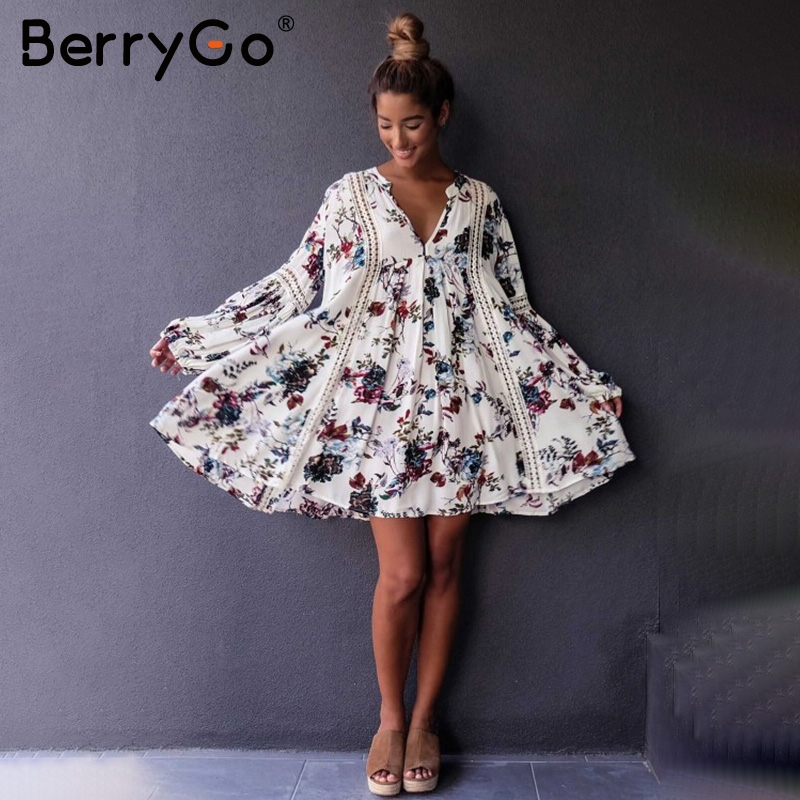 BerryGo Hollow out boho summer dress Women vintage loose lace lantern sleeve short dress Ruffle flower print sexy dress vestidos 3