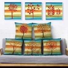 Otoño colorido árbol hojas de hoja de impresión funda de almohada 45*45 funda de cojín de lino almohada casos sofá decoración para el hogar fundas de cojín