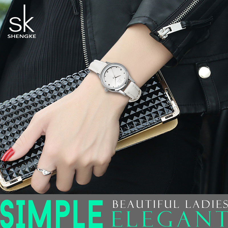 SK Top Brand White Ladies Wrist Watches Elegant Women Leather Watch Quartz Clock Rhinestone Waterproof Relogios