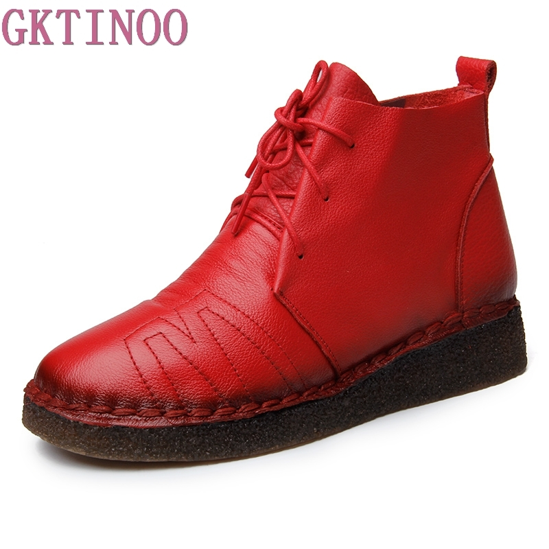 GKTINOO Autumn Winter Women Retro Boots Handmade Ankle Boots Flat Boots Real Genuine Leather Shoes Women Shoes tastabo handmade ankle boots martin flat boots 100% real genuine leather shoes retro winter snow boots botines mujer women shoe