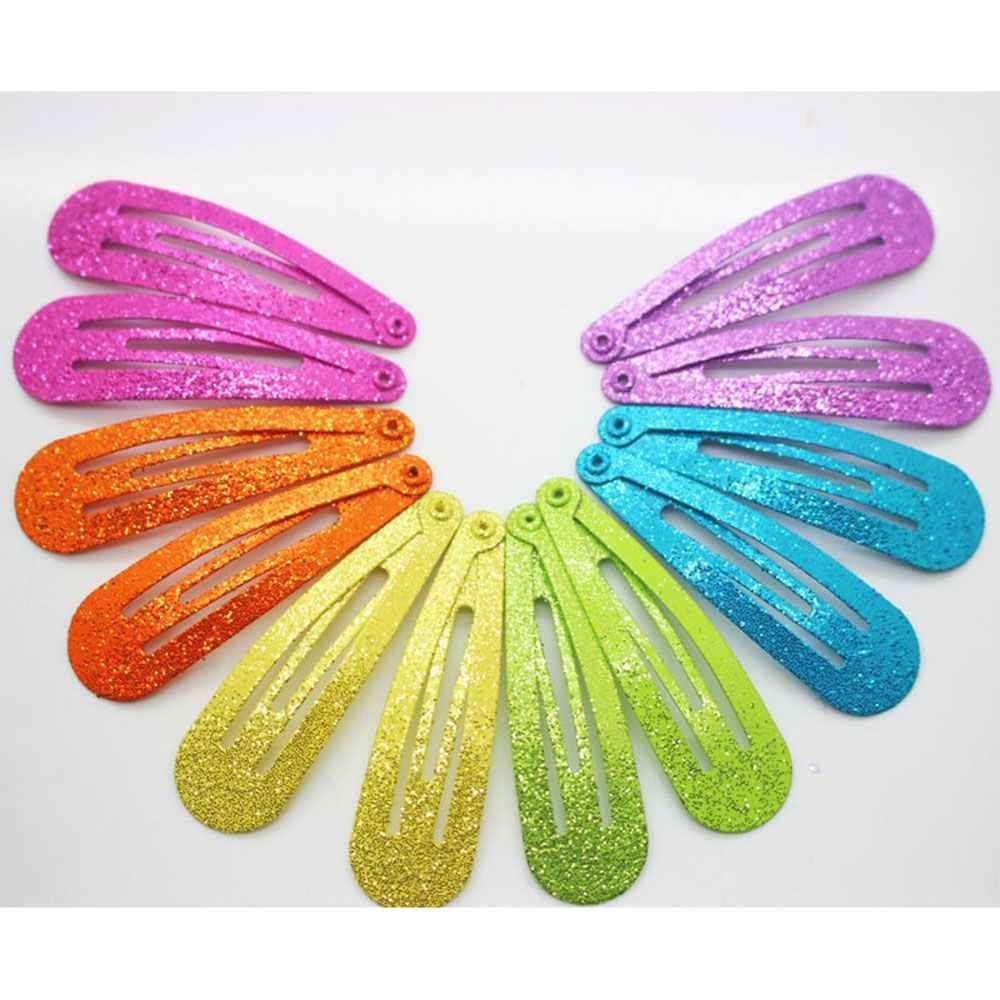 12pcs Glitter Hairpins Snap Hair Clip for Children Kids Hair Clip Pins for Baby Girls Hair Accessories Cute Metal Barrettes