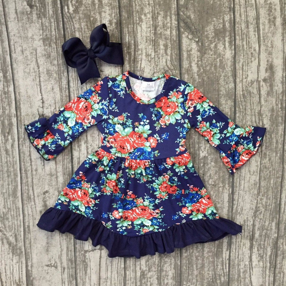 New Fall Baby Girls Children Clothes Dress Cotton Floral Flower Navy Mom N Bab Girl Set Blue Size 12m Soft Boutique Ruffle Long Sleeve Match Clip Bow Kids Wear In Clothing Sets From Mother