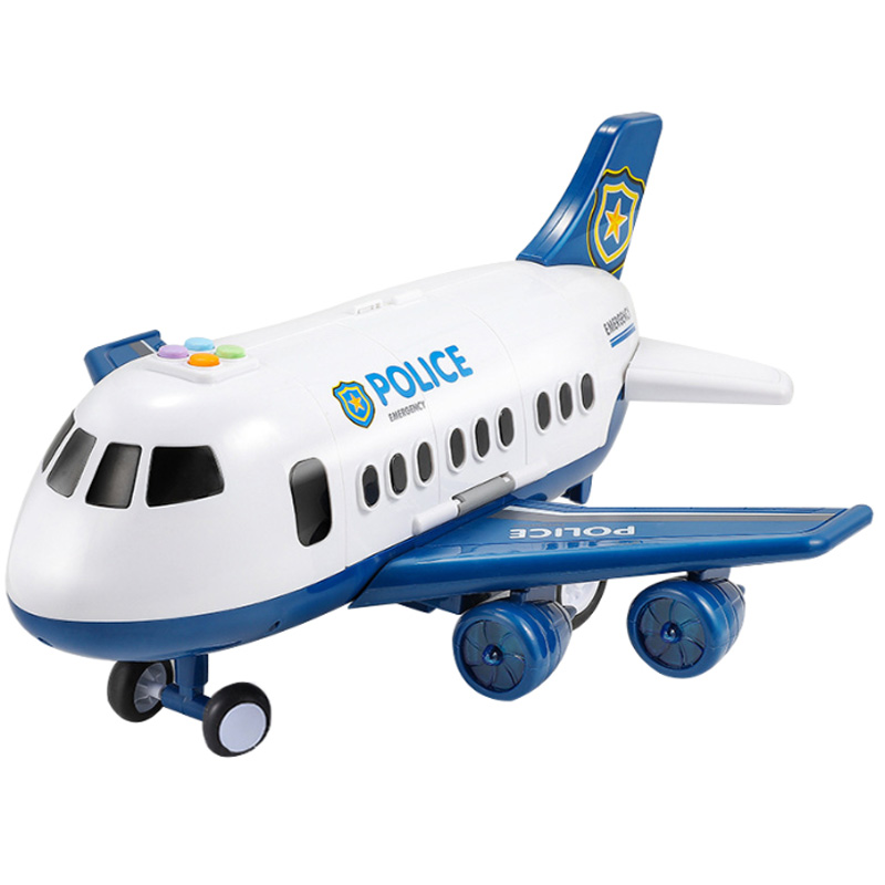 Children'S Toy Aircraft Boy Baby Oversized Music Track Inertia Toy Car Plane Passenger Model Large Storage Space image