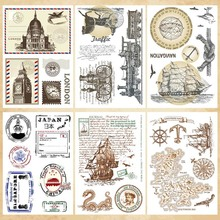 Retro Postmark Nautical Map Transparent Clear Stamps Silicone Seal for DIY Scrapbooking Card Making Album Decor Craft Supplies