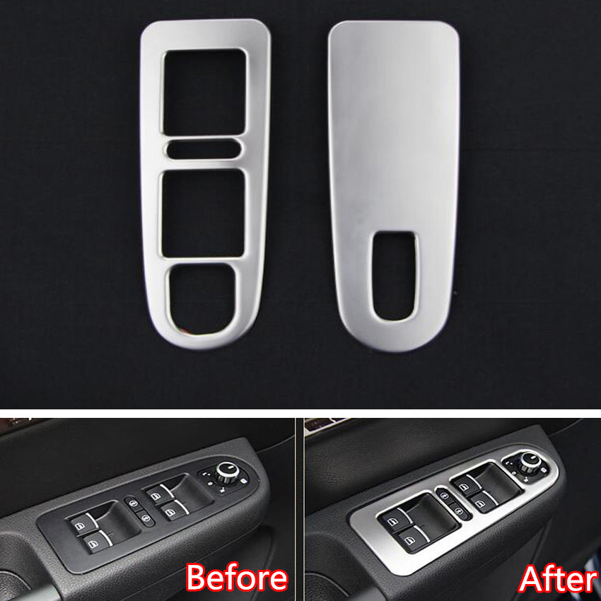 YAQUICKA 2Pcs Car Interior Front Door Armrest Window Lift Button Switch Trim Styling Sticker For VW Sharan 2013 2014 2015 2016 for mitsubishi outlander 2013 2014 2015 2016 car styling door s armrest panel cover decoration trim leather skin