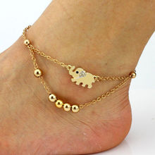 Fashion Women New Barefoot Sandal Beach Foot Chain Rose Gold Plated Elephant Charm Anklet