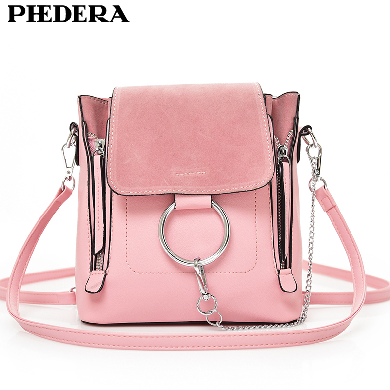 PHEDERA Brand Summer Fashion Female Shoulder Bag High Quality PU Leather Chains Women Messenger Bags Pink