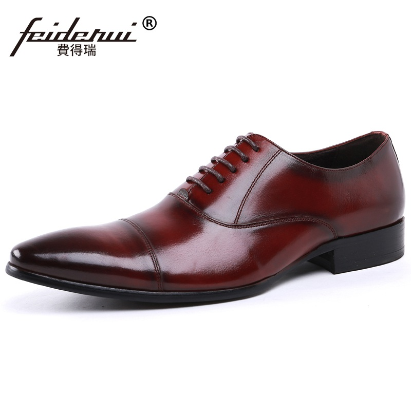 Italian Style Pointed Toe Man Business Oxfords Genuine Leather Formal Dress Shoes Vintage Wedding Party Office Men's Flats NH94 pjcmg spring autumn men s genuine leather pointed toe slip on flats dress oxfords business office wedding for men flats shoes