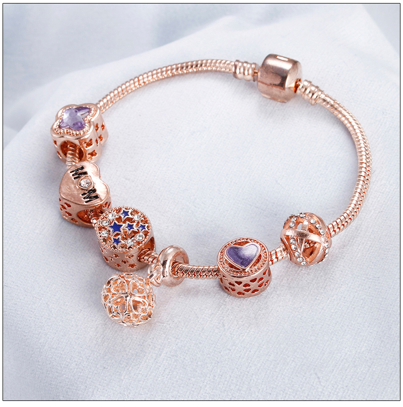 Rose Gold Bracelet Cherry Blossom Tassel Ball Crystal Bead Pendant Charm Trend Bracelets & Bangles For Women Jewelry Girl Gifts 8