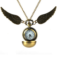 2017 Antique Golden Angel Wing Quartz Pocket Watch Charming Vintage Men Women Snitch Ball Necklace Pendant Clock with Chain Gift