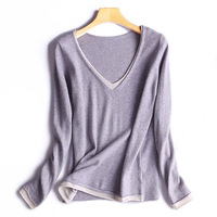 Sweater Women 2017 Autumn Winter High End Pure Cashmere Office Lady Deep V Neck Patchwork Sweaters