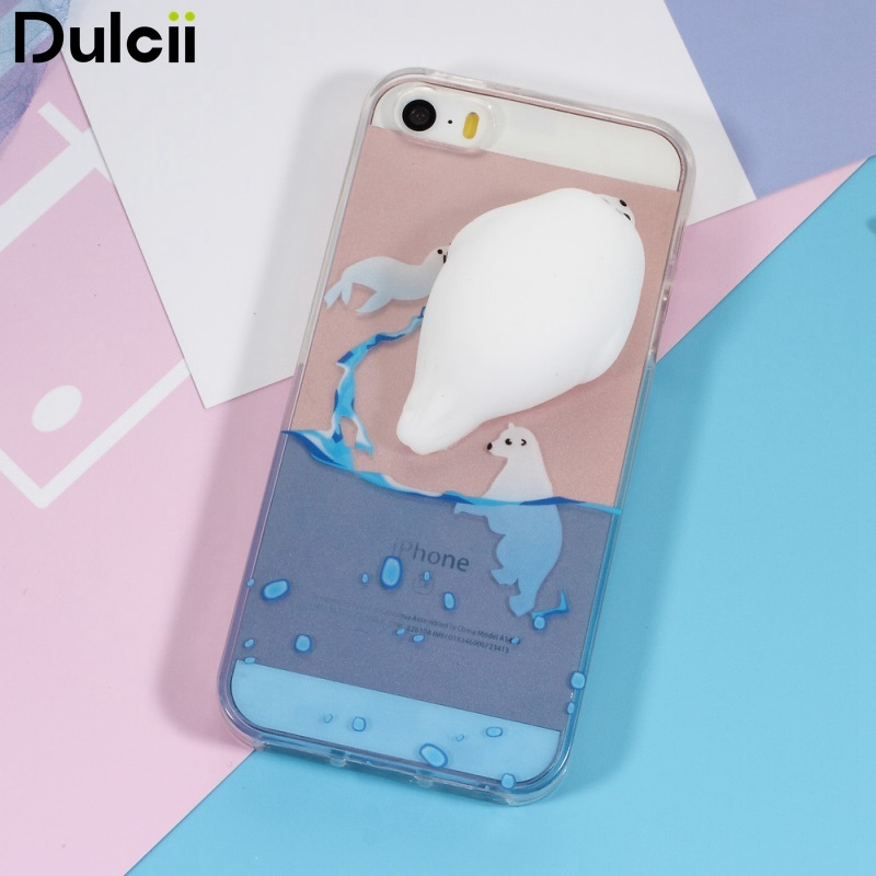 DULCII for iPhone 5s Cover Squishy 3D Silicone Kneading Seal Sea Dog Pattern Printing TPU Case for iPhone SE/5s/5
