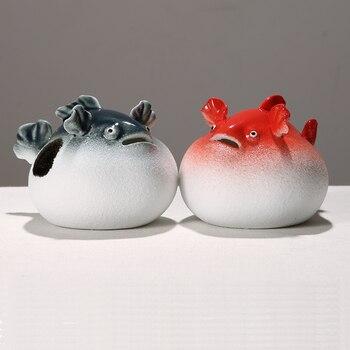 Cute ceramic puffer fish home decoration small ornaments Fun ugly fish office Desktop ornaments