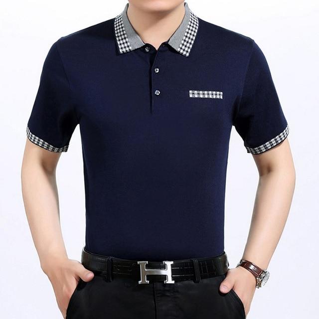 Collar de la tela escocesa los polos de los hombres de lujo de negocios de marca para hombre polo camisa ocasional sólido delgada camisa hombre más tamaño pullovers tops