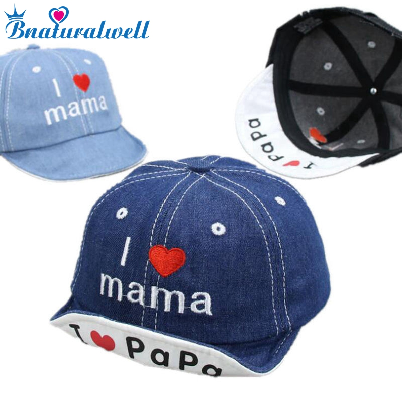 Bnaturalwell I Love Mama Papa Caps Spring Summer Autumn Baby Hat Child Cotton Cap Embroidery Baseball Caps H075S sole crowd unisex casual caps fashion embroidery letter cotton baseball cap for women s summer snapback men hip hop hat bone