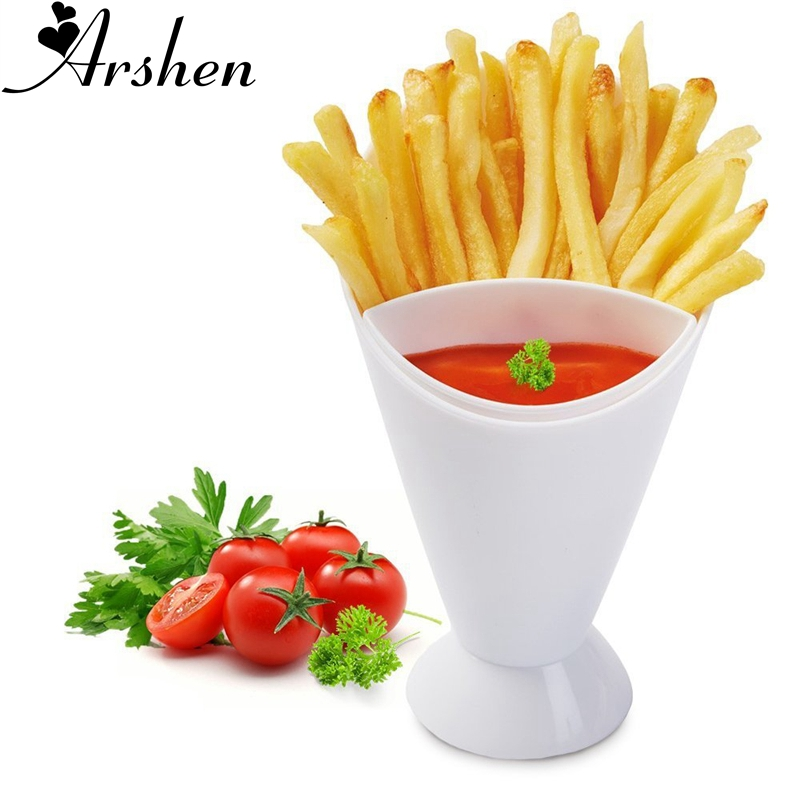Arshen French Fry Chips Cone Salad Dipping Cup Kitchen Restaurant Potato Tool Tableware Assorted Sauce Ketchup Jam Dip Cup Bowl