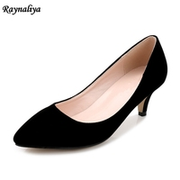 Spring Autumn Ladies Flock Leather Med High Heels Slip On Office Pumps Pointed Toe Women Dress Singles Shoes Big Size MS A0012
