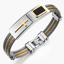 Classic Link Chain Mens Stainless Steel Bracelet Silver Gold Polished Color Cross Pattern Biker Jewelry 18.5cm