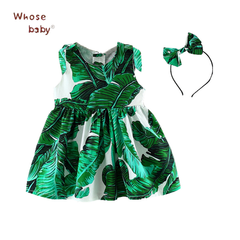 Newborn Baby Dress Princess Party Dresses for Girls Baptism 2Pcs Print Green Dress With Bow Headwear Summer Holiday Girl Clothes