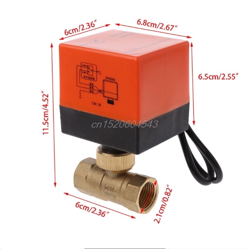 DN15/DN20/DN25 Electric Motorized Brass Ball Valve DN20 AC 220V 2 Way 3-Wire with Actuator R06 Drop Ship