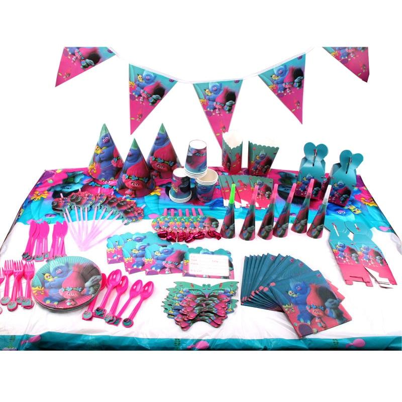 145 шт./лот украшения для детского дня рождения с изображением троллей, детские украшения для вечеринки, наборы посуды для дня рождения, сувен...
