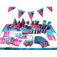 145pcs/lot Trolls Children Birthday Party Decorations Kids Evnent Party Supplies Birthday Tableware Sets Party Favors