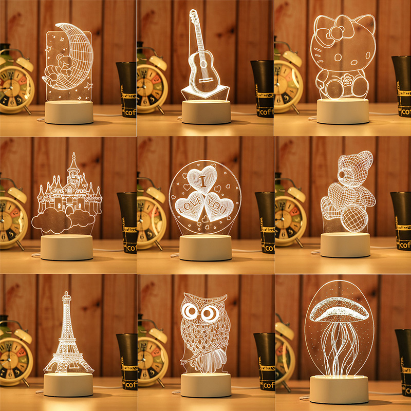 Castle Piano 3D Visual Illusion Lamp Transparent Acrylic Night Light LED Lamp 7 Color Changing Touch Table Lamp Kids Lava Lamp ynynoo star wars bb8 droid 3d bulbing light toys 2016 new 7 color changing visual illusion led lamp yoda millennium falcon toy