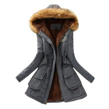 Gray Winter England Style Fur Collar Hooded Jacket Slim Winter Parka Outwear CoatsWomens Warm Long Sleeve Cotton Coat AU0809
