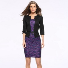 New Womens Elegant Faux Jacket One Piece Belted Tartan Lace Patchwork Wear to Work Business Pencil