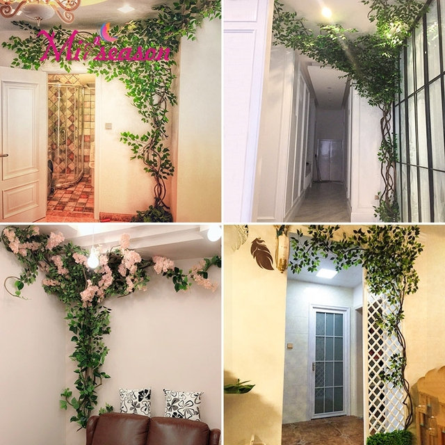 1 Set Green Eucalyptus Leaves Landscaping Indoor Living Room Wall Fake Flower Tree Rattan Vine Plant Decoration For Home
