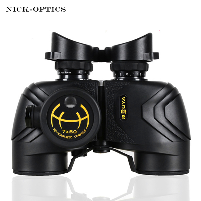 Rouya Powerful Military Binoculars 7X50 Rangefinder and Big Azimuth Compass Telescope Waterproof Nitrogen High-definition boshile powerful military binoculars waterproof nitrogen high quality 7x50 rangefinder binocular big azimuth marine compass