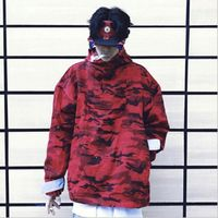 Camouflage jacket and jacket men's 2019 European and American style red camouflage hooded jacket US size S XL