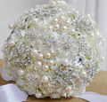 Diameter 25CM Luxury Artificial Silk Flowers decorative With Rhinestone And Pearl Bridal Wedding Brooch Bouquet Crystal  FW153