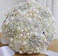 Diameter 25CM Luxury Artificial Silk Flowers decorative With Rhinestone And Pearl Bridal Wedding Brooch Bouquet Crystal  FW153