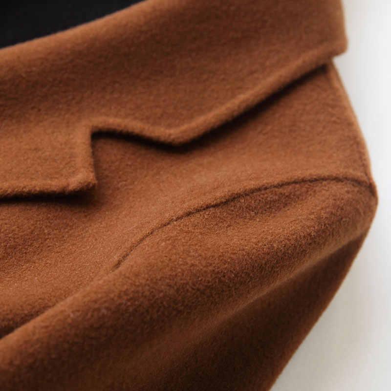 Ayunsue 2020ファッション80% ウールコート女性両面カシミヤコート中 · 長期冬のコートの女性の上着37008-1 WYQ1156