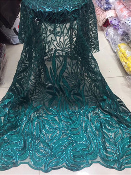 Nigerian French Tulle Lace Fabric 2019 Tassel design peach sequin lace French Mesh Lace Fabric With Sequins For Wedding green