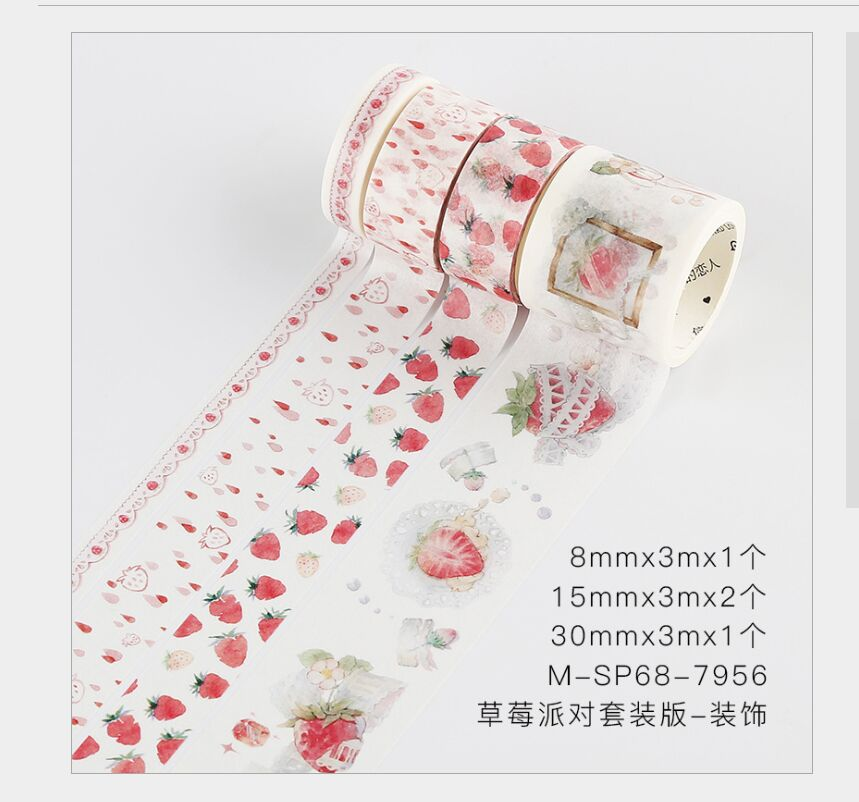 4 Rolls/pack Red Fruit Strawberry Rain Lace Strawberry Party Decoration Washi Tape DIY Planner Scrapbooking Masking Tape Escolar