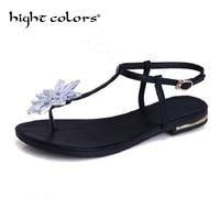 2018 Ayakkabılar Kadın Sandalet Kadınlar Için Rhinestones Çiçek Thong Sandal Düz Gladyatör Sandalet Kadın Siyah Şerit Chaussure Femme