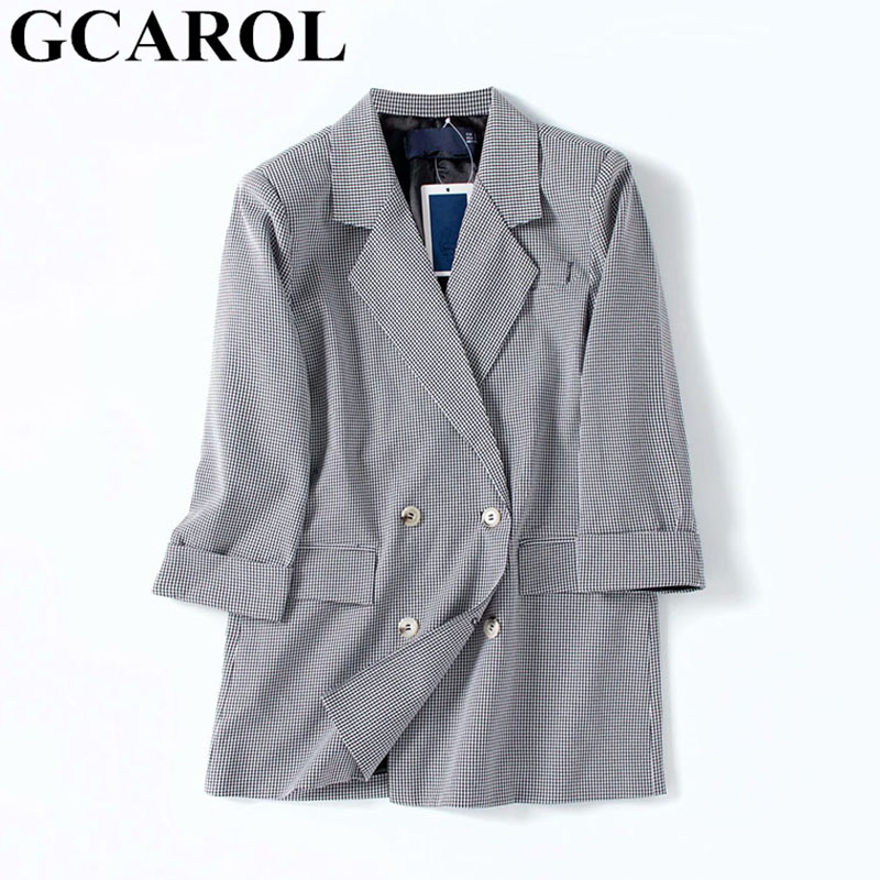 GCAROL New Spring Fall Women Plover Case Blazer 3/4 Sleeve Double-breasted 2 Pockets OL Checked Suit Outfits