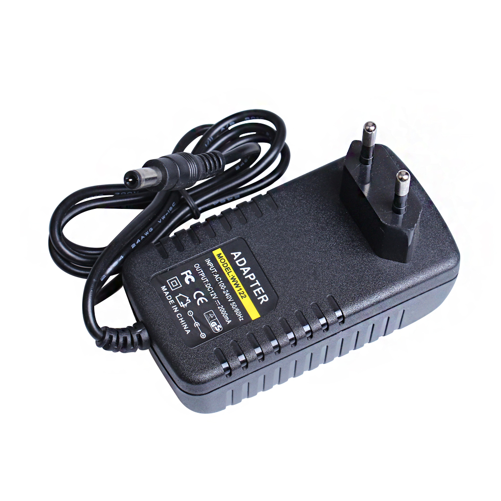 12V 2A AC DC Adapter 100-240V Converter Adapter Charger Power Supply EU Plug Black 5.5x2.1mm