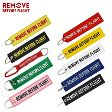 3 PCS/LOT Remove Before Flight Motorcycle Car Keychain Newest Embroidery OEM Key Chain Holder Fob For  Aviation Gifts