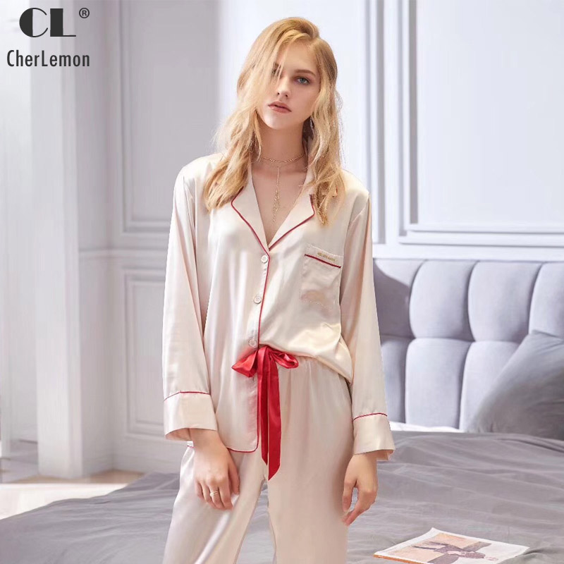 CherLemon New Solid Silk Satin Pyjamas Women s Autumn 2018 Long Sleeve Turn  Down Collar Pajamas Sleepwear Luxurious Nightwear-in Pajama Sets from  Underwear ... 47ab000f8