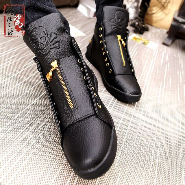e9341c428ec Sales 2017 New Winter Luxury Brand Men Shoes Genuine Leather Skull Hip Hop  Men Casual Shoes