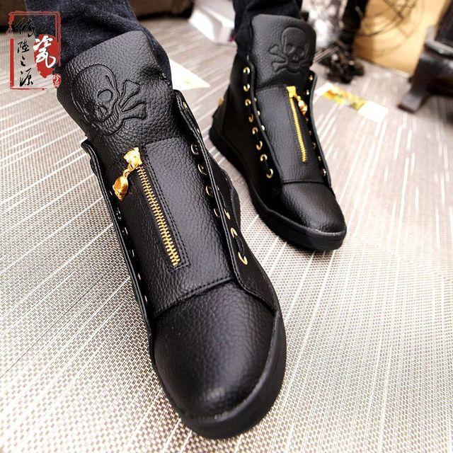 Ventas 2017 Nuevo Invierno de la Marca de Lujo de Los Hombres Zapatos de Cuero Genuino Cráneo Hip Hop de Los Hombres Zapatos Casuales Zapatos de Gran Tamaño Para Los Hombres Negro blanco