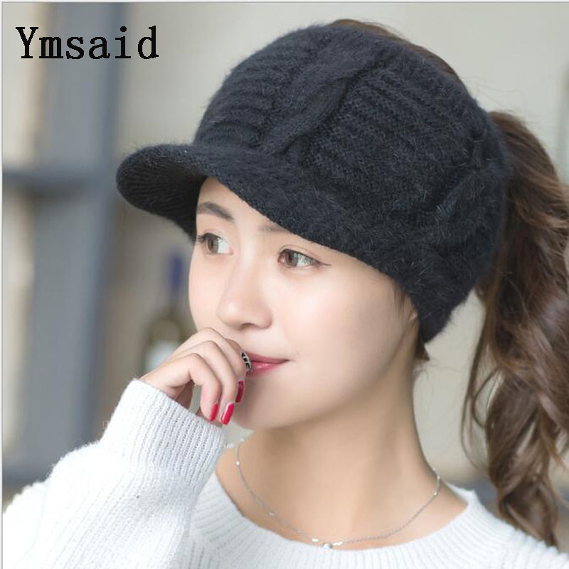 Ymsaid Winter Hat Female Autumn Korean Version Of The Tide Ladies Hat Fashion Rabbit Hair Empty Cap Hat Winter New Wool Hat Woma wuhaobo the new arrival of the cashmere knitting wool ladies hat winter warm fashion cap silver flower diamond women caps