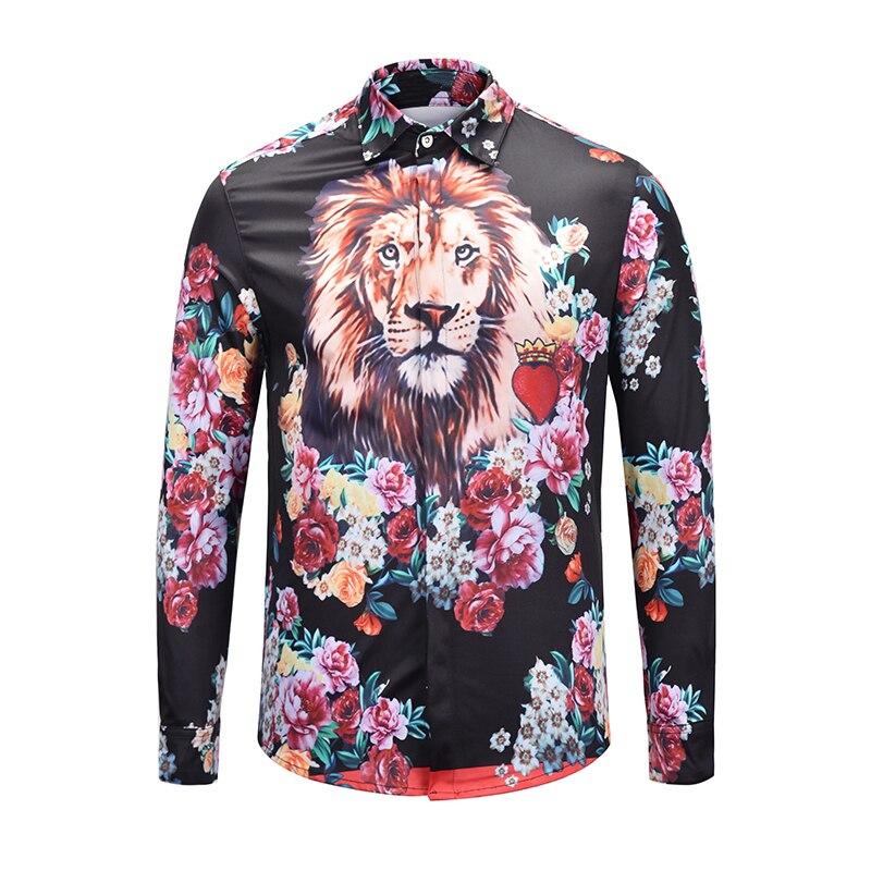 True Reveler marca ropa 3D estampado León camisas hombres manga larga moda oro  hip hop Fiesta bd6a20fc0af
